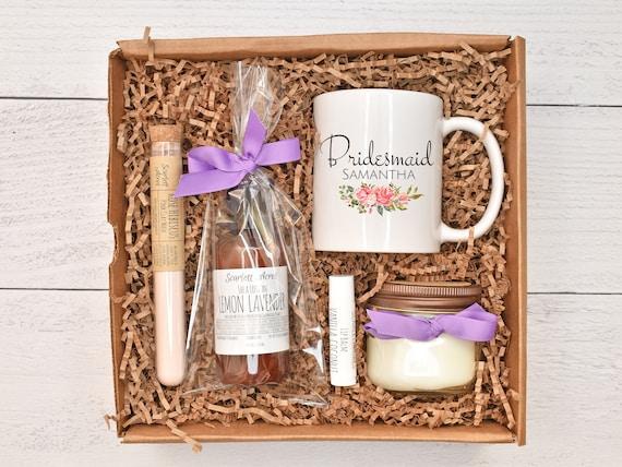 Bridesmaid Gift Box, Bridesmaid Lotion & Candle Box, Bridesmaid Proposal Gift, Bridesmaid Pamper Box, Personalized Bridesmaid Mug