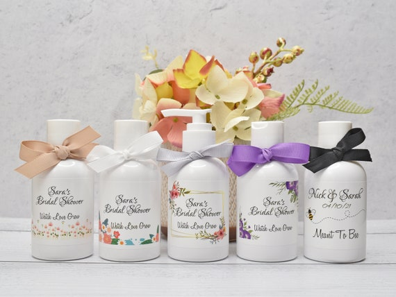 5 Bridal Shower Favors, Bridal Party Favors, Bridal Shower Prizes, Bridal Party Gifts, Personalized Lotion Favors, Country Wedding Favors