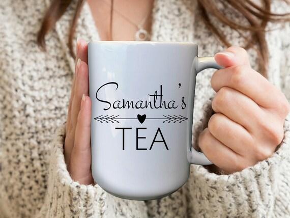 Custom Tea Mug, Custom Name Mug, Large Tea Mug, Tea Lover Gift, Birthday Gifts For Her, Personalized Tea Mug, Mom Birthday Gift