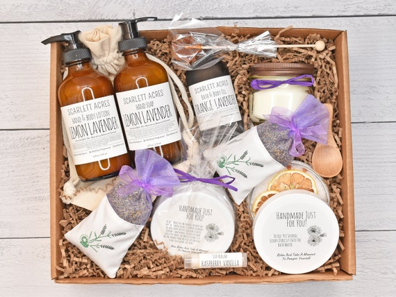 Lavender Gift Set, Bride Spa Gift Box, Lotion & Soap Set, Pamper Gift Box, Birthday Gifts For Her, Organic Spa Gift Set