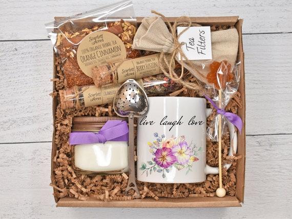 Christmas Gift For Her, Tea Sampler Gift Set, Tea And Mug Gift Set, Tea & Candle Gift Box, Mom Birthday Gift Basket
