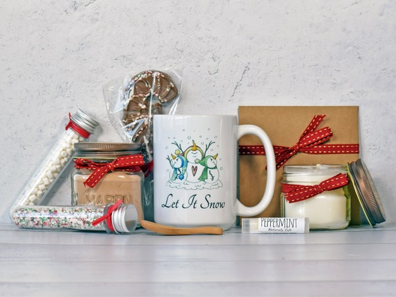 Peppermint Mocha Gift Set, Christmas Gift Basket, Christmas Gift Box, Candle Gift Set, Gift Baskets For Women, Hot Chocolate Gift Basket