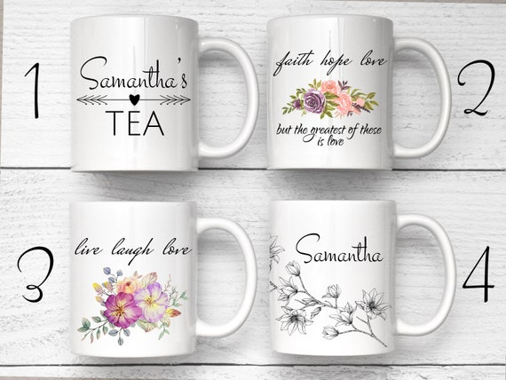 Custom Flower Mug, Magnolia Flower Mug, Personalized mugs, Personalized Coffee Mug, Custom Name Mug, Personalized Tea Mug, Custom Tea Mug