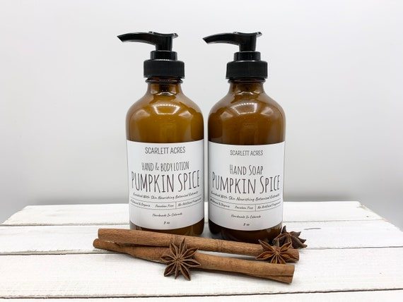 Pumpkin Spice Hand Soap & Lotion Set, Holiday Lotion Set, Christmas Gift Set, Organic Lotion, Natural Hand Soap, Holiday Gifts For Women