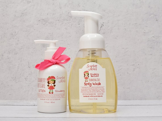 Kids Body Wash And Lotion Set, Kids Lotion And Soap Set. Organic Skin Care, Natural Skin Care, Strawberry Lotion And Body Wash