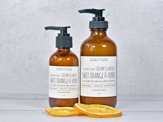 Cream Cleanser, Orange Cleanser, Honey Cleanser, Organic Cleanser, Natural Face Wash, Dry Skin Cleanser, Moisturizing Cleanser