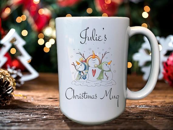 Christmas Coffee Mug, Rustic Snowman Mug, Vintage Christmas Mug, Christmas Gifts For Her, Hot Chocolate Mug, Custom Christmas Mug