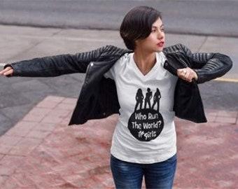 Who rule the world - girls vneck tee