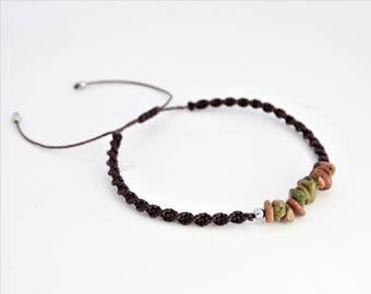 Unakite stone 3-5mm bracelet, macrame bracelet, boho bracelet, tiny macrame bracelet, minimalist bracelet, tiny bracelet