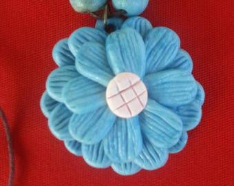 Feeling Blue Sunflower Necklace