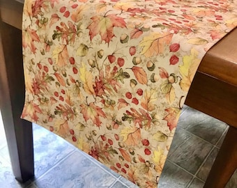 Fall Acorn and Leaves Table Runner in soft hues, several sizes.