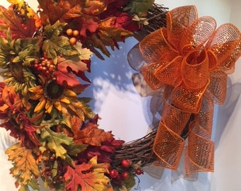 Warm and Beautiful Fall Wreath with Sunflowers, Sparkling Fall Leaves and Berries