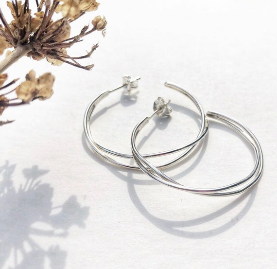 Stirling silver delicate hoops