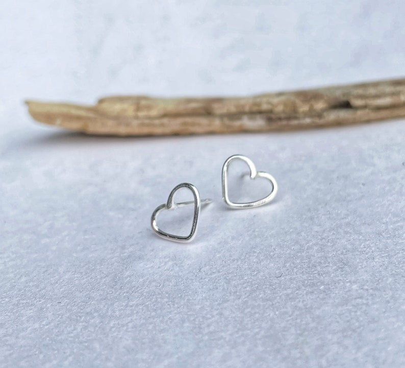 Stirling silver charity heart studs / valentines gift image 0