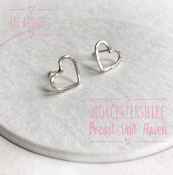 Stirling silver charity heart studs