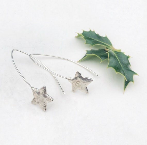 Handcrafted Stirling silver star threader earrings