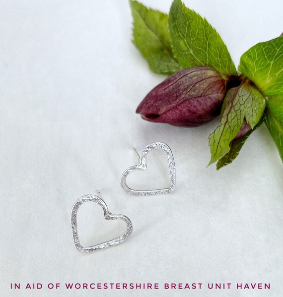 Stirling silver charity heart studs / valentines gift