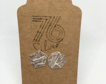 Stirling silver folded paper style stud earrings
