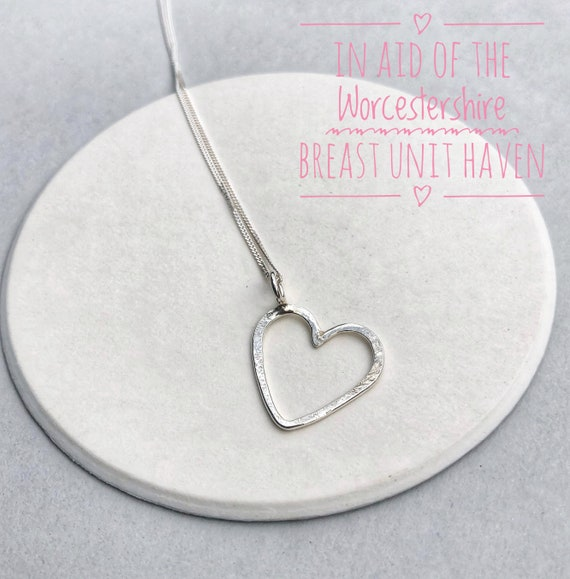 Stirling silver charity heart pendant / valentines heart pendant