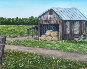"Original Acrylic Farm Barn Landscape Painting on 24x36"" Gallery Wrapped Canvas, Farm House Wall Art Decor, Old Rusted Barn Painting, Field"