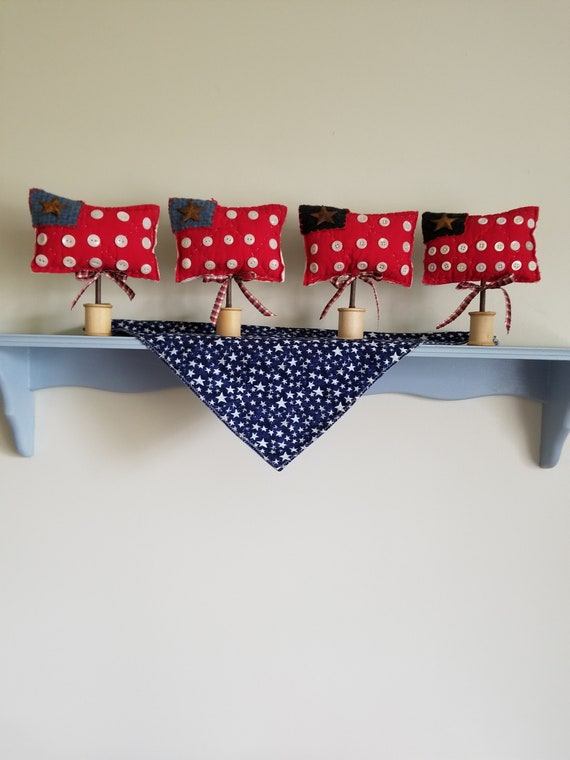 Holiday & Seasonal July 4th Nice Patriotic Cat Shelf Sitters Holiday Kitten Figurines American Flag Set Of 4 For Sale