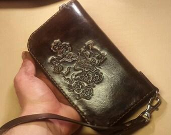 Clutch Travel Wallet Organizer, Passport Clutch wallet, Travel Passport Holder, Boarding pass holder, leather passport zipper Brown