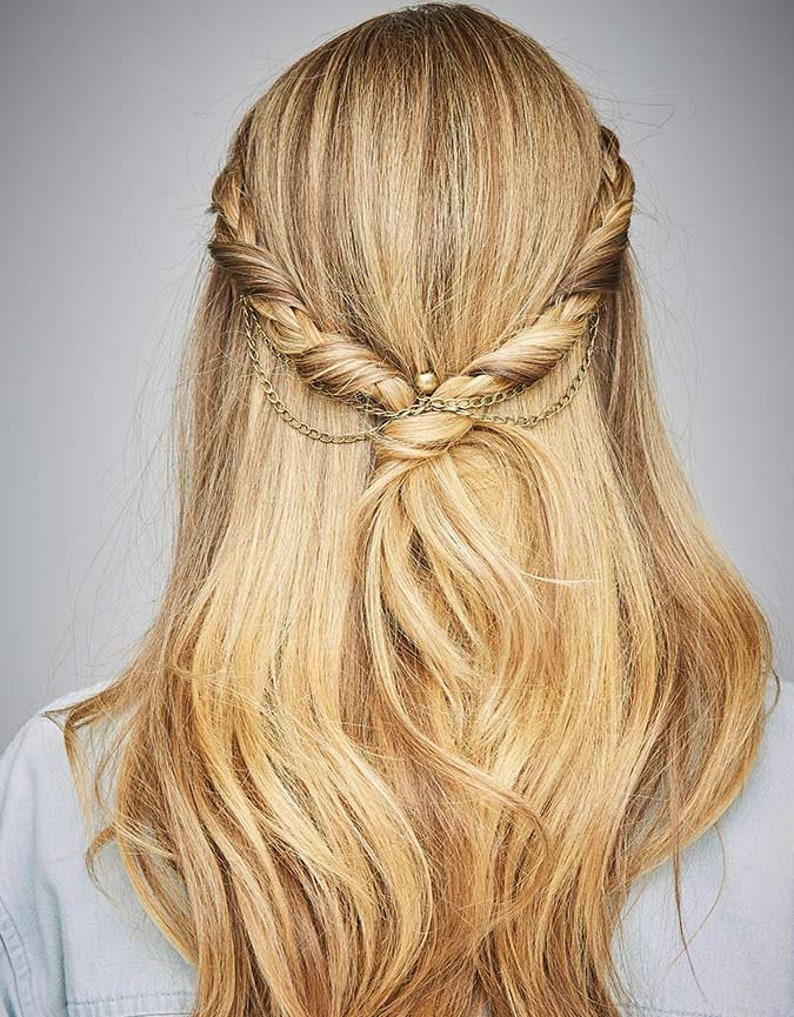 3d9c247a973b7 Fashion Hair Chain Festival On trend Hair Jewelry Gloss Antique Brass Women  Hair Styling Tool Non-slip KELA Hair Jewellery