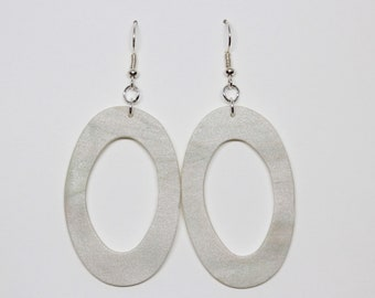 Faux Mother of Pearl Oval Hoop Dangle Polymer Clay Statement Earrings // Bebe