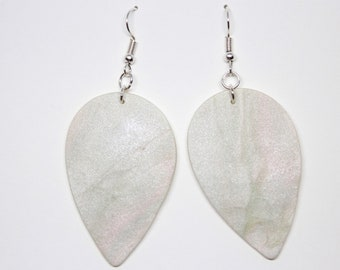 Faux Mother of Pearl Drop Leaf Dangle Polymer Clay Statement Earrings // Gina
