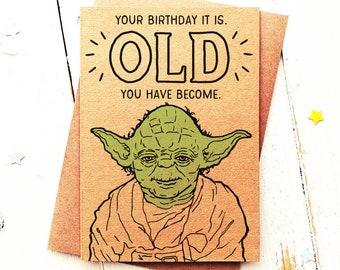 Yoda Birthday Card Funny Star Wars Card Best Friend Card Etsy