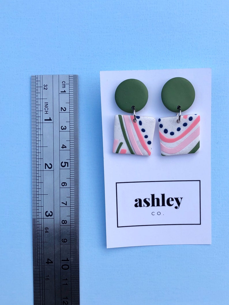 Molly Square Dangles in khaki navy pink and white