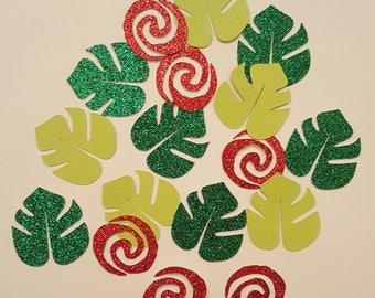 Moana Inspired Confetti, Leaves Confetti, Party Table Confetti