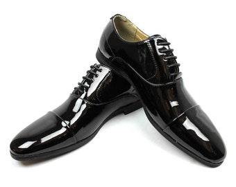 4705d104cef6 New Men s Black Tuxedo Cap Toe Lace Up Oxford Dress Shoes Shiny Patent By  AZAR