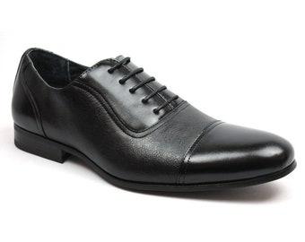 36536b72111 Men s Black Formal Dress Shoes Cap Toe Lace Up Oxfords Tuxedo Ferro Aldo