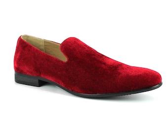 f4f3739796 Velvet Slip On Red Tuxedo Plain Loafers Handmade Modern Formal Mens Dress  Shoes By AZAR
