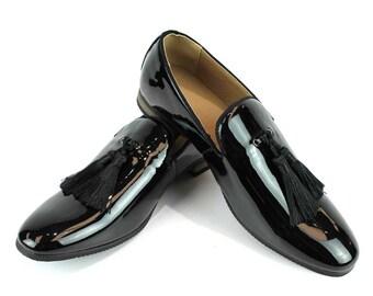 998c9e84ca Slip On Patent Black Tuxedo Loafers Handmade Tassel Modern Formal Mens  Dress Shoes By AZAR