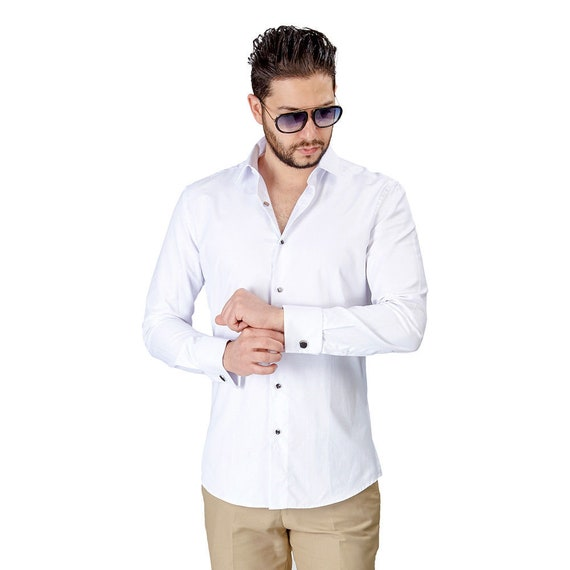 Slim Tailored Fit Mens Wing Tip White Tuxedo Shirt Wrinkle-Free By AZAR MAN