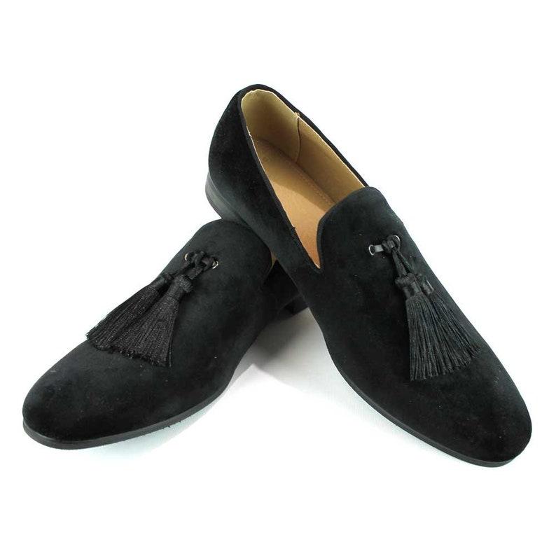 d879fe01c56 Velvet Slip On Black Tuxedo Loafers Handmade Tassel Modern