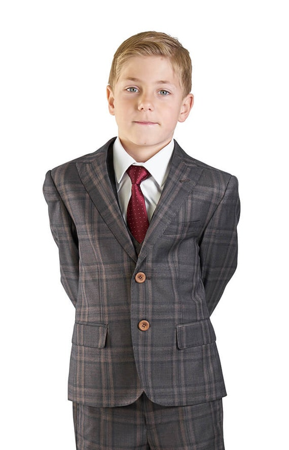 Boys Suit Tuxedo Bronze 5 Piece Set Windowpane Plaid Kids Dress Formal AZARMAN