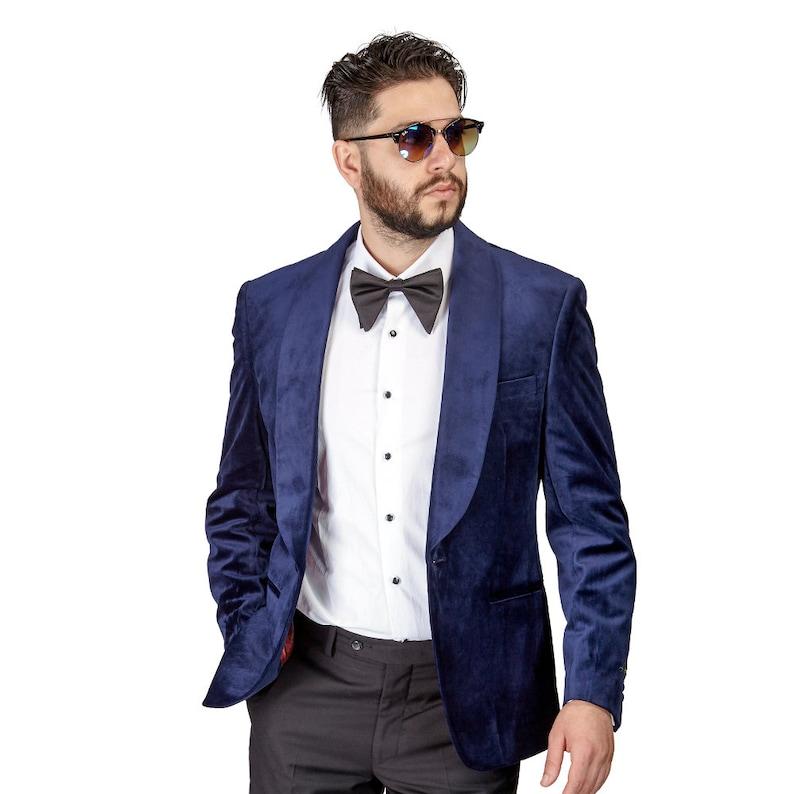 Tuxedo Jacket Mens Slim Fit Navy Blue Velvet Dinner Blazer Shawl Lapel Collar 1 Button AZAR