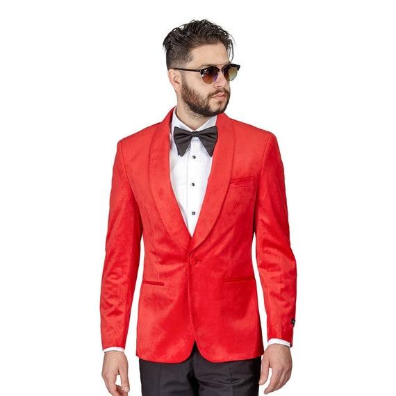 11e0c2d1e9b Tuxedo Jacket Mens Slim Fit Red Velvet Dinner Blazer Shawl   Etsy