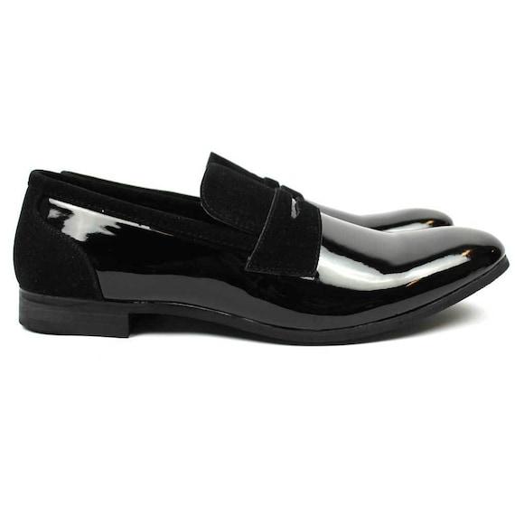 New Men/'s Black Patent Leather Tuxedo Dress Shoes Formal Shiny Wedding Prom AZAR