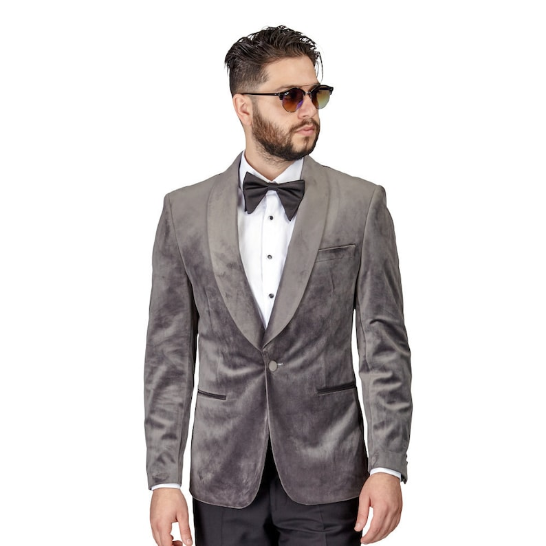 a0ada633588 Tuxedo Jacket Mens Slim Fit Grey Velvet Dinner Blazer Shawl | Etsy