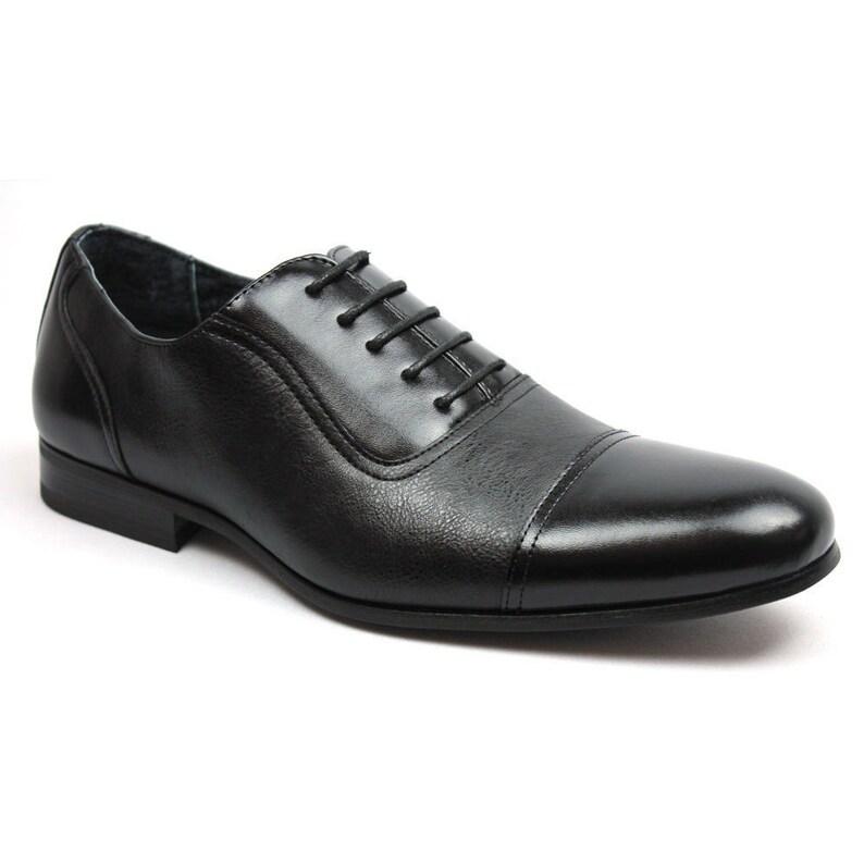 43d4223dc430 Men s Black Formal Dress Shoes Cap Toe Lace Up Oxfords