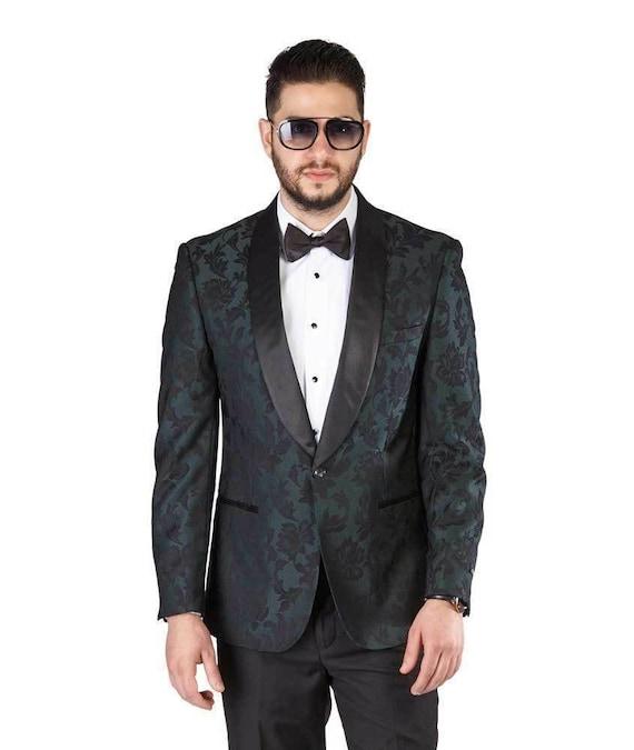 Tuxedo Jacket Men Slim Fit Pastel Dinner Velvet Blazer Shawl Lapel 1 Button AZAR