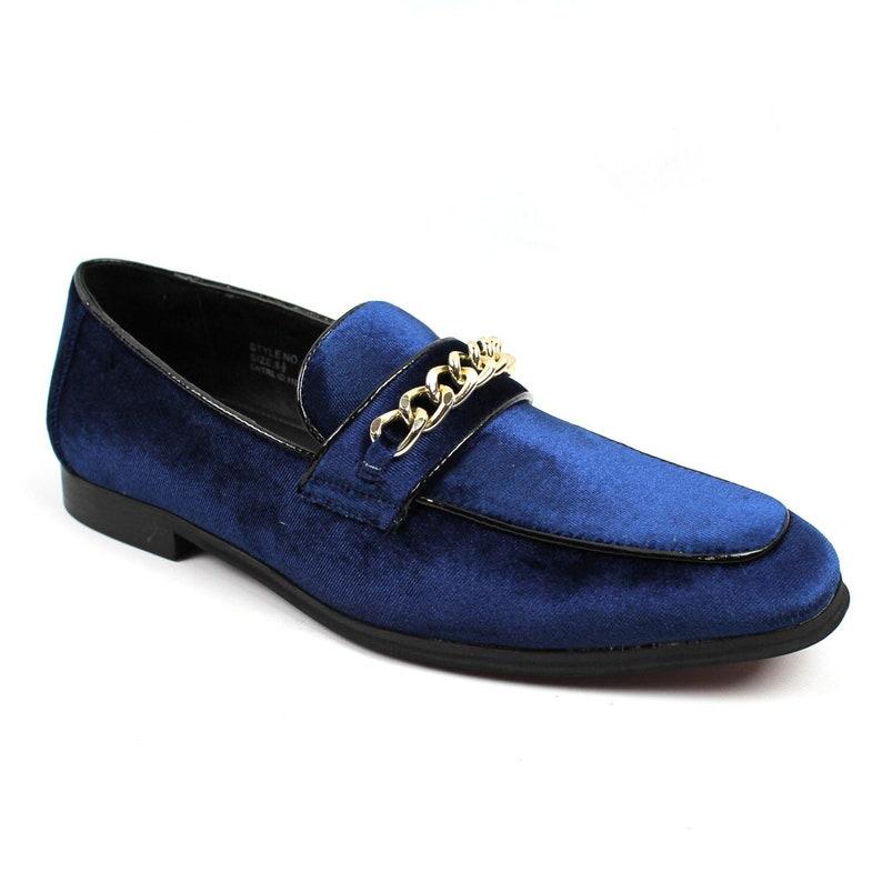 2b660aa621f Men's Slip On Blue Velvet Chain Buckle Modern Dress Shoes | Etsy