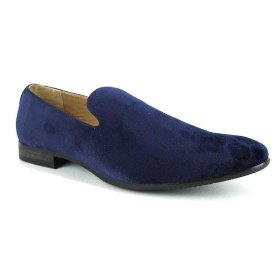 0f3278e5ecaf5 Velvet Slip On Navy Blue Tuxedo Plain Loafers Handmade Modern | Etsy