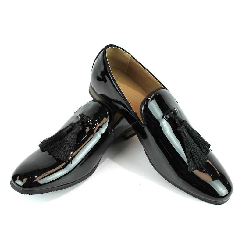 e437649be0d Slip On Patent Black Tuxedo Loafers Handmade Tassel Modern