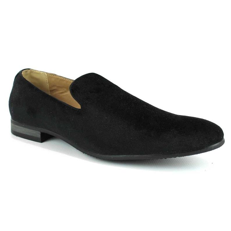 b8b8e69a7ae Velvet Slip On Black Tuxedo Plain Loafers Handmade Modern