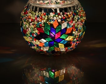 Mosaic Candle Holder, Handmade Glass Tealight Holder, Mother's Day Gift,